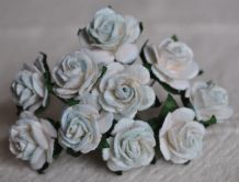 1.5cm LIGHT TURQUOISE WHITE Mulberry Paper Roses